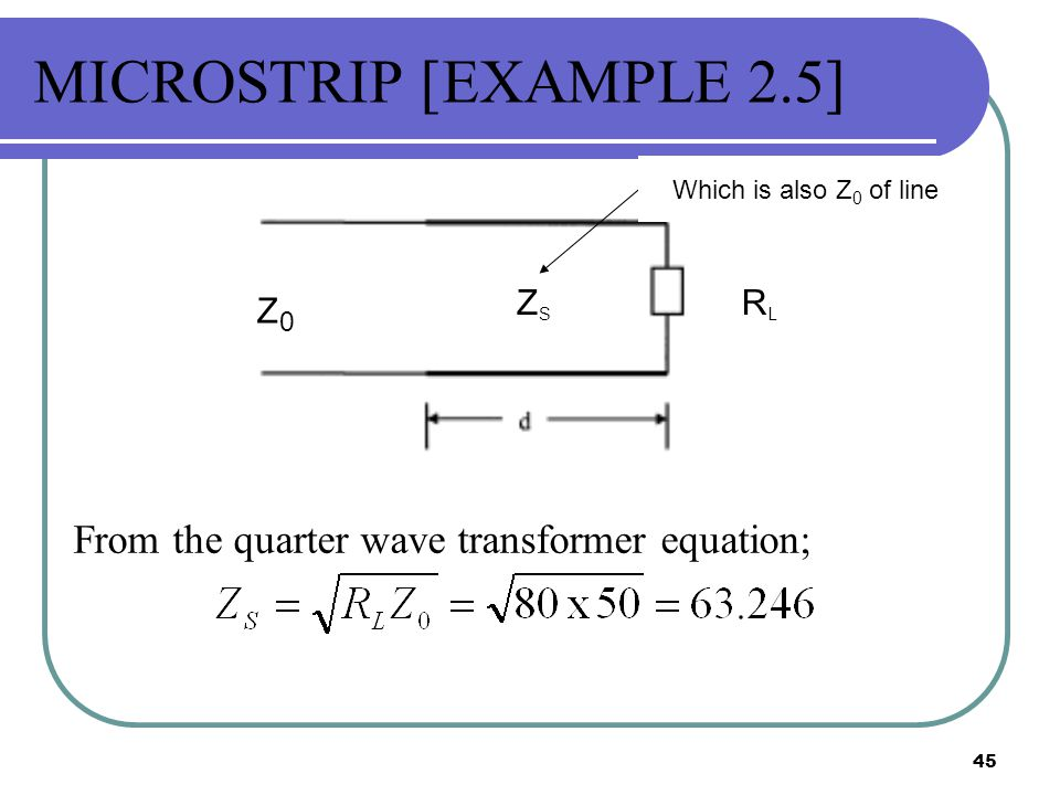 MICROSTRIP [EXAMPLE 2.5] From the quarter wave transformer equation;